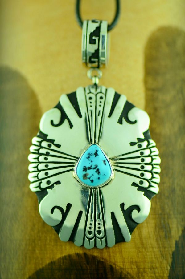 Navajo Sterling Silver Sleeping Beauty Turquoise Pendant by Rosita Singer
