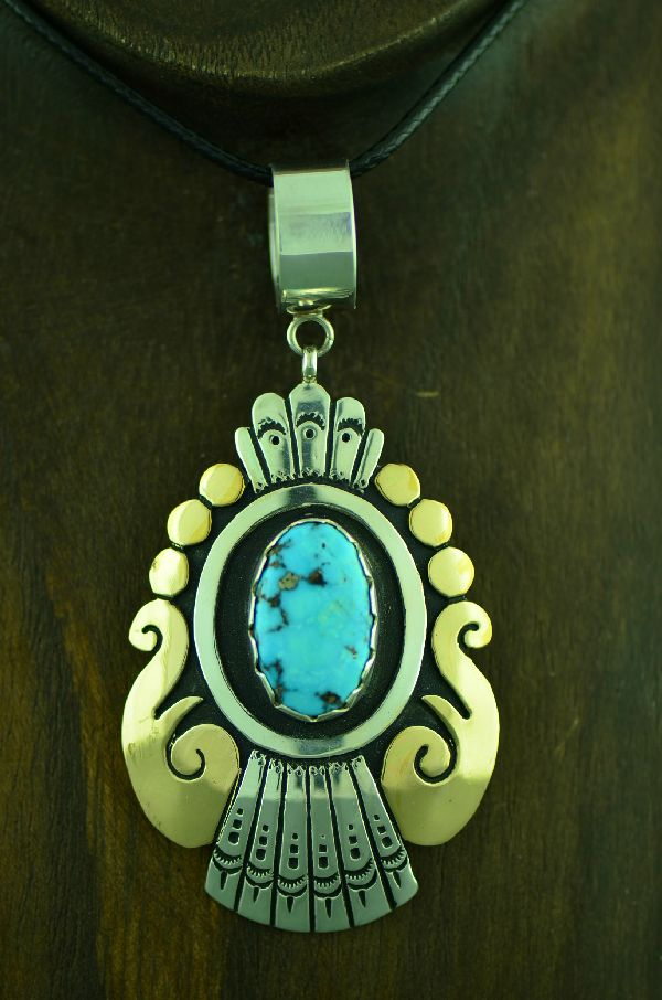 Navajo Sterling Silver and Gold Craft Kingman Turquoise Pendant by Rosita Singer
