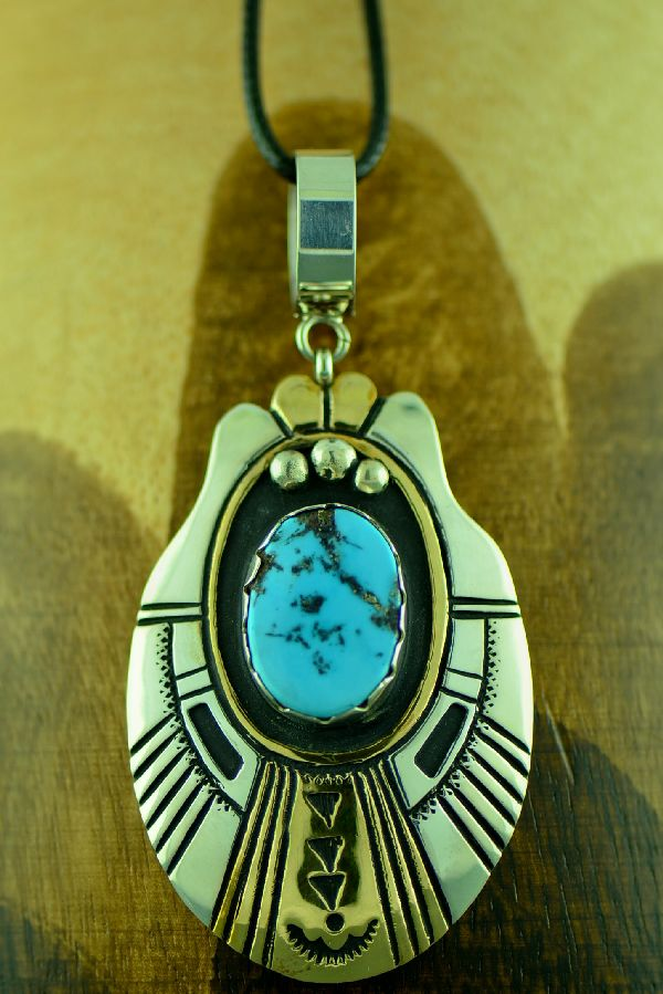 Rosita Singer Sterling Silver and Gold Craft Kingman Turquoise Pendant