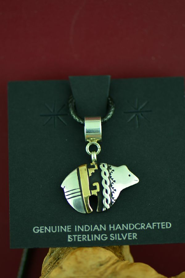 Navajo Sterling Silver and Gold Bear Pendant by Rosita Singer