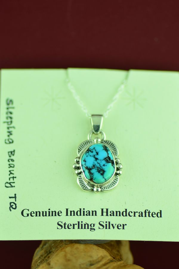Navajo Sterling Silver Sleeping Beauty Turquoise Pendant by E. Bahe