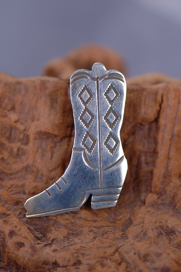 Navajo - Sterling Silver Cowboy Boot Pin by Marian Begay