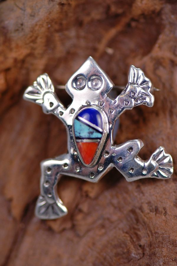Navajo Inlaid Frog Pin