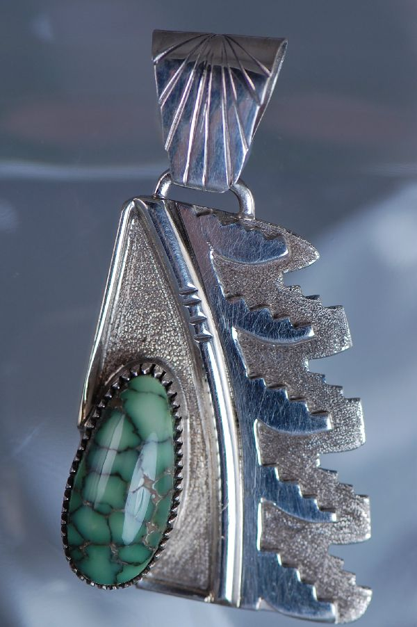 Navajo – Sterling Silver Damali Turquoise Pendant by Benson Ration