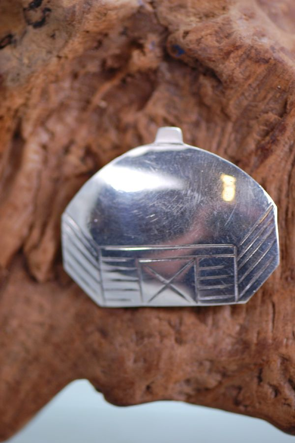 Navajo - Sterling Silver Hogan Pin by Marian Begay