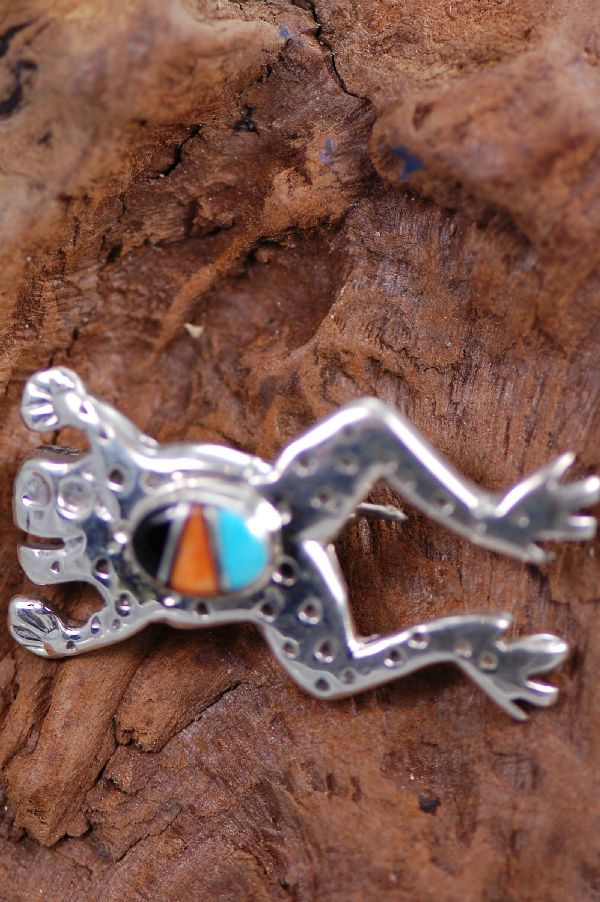Navajo - Sterling Silver Inlaid Turquoise, Spiny Oyster, and Lapis Frog Pin