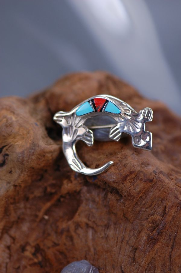 Navajo Turquoise and Coral Inlaid Gecko Pin