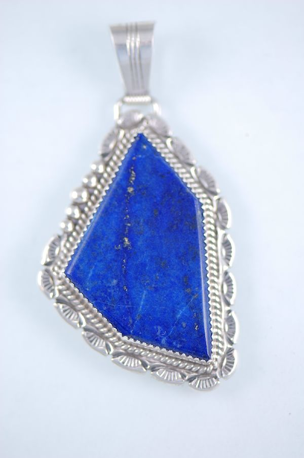 Navajo – Natural Lapis Sterling Silver Pendant by Loren Begay