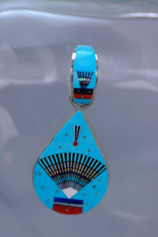 Equisite Inlay Ceremonial Fan Pendant