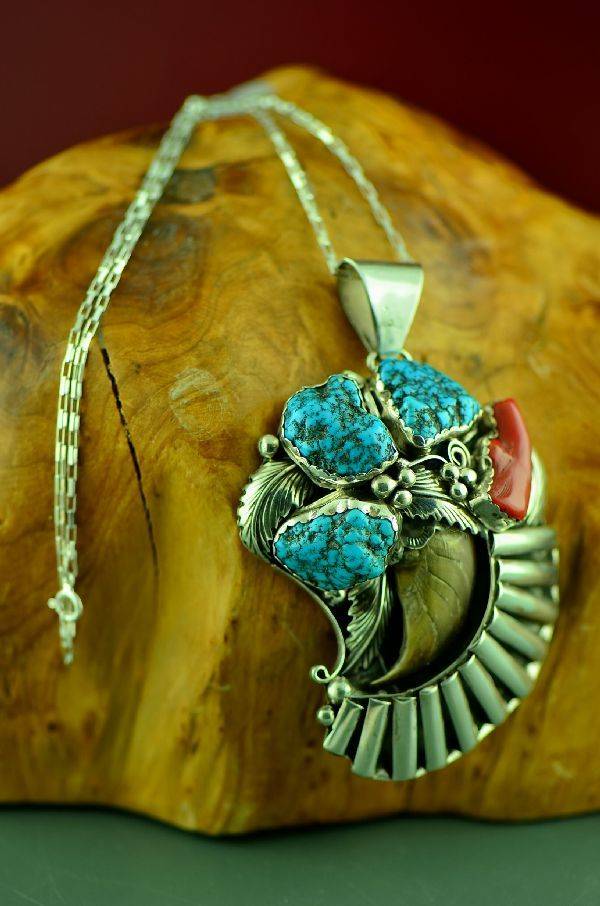 Navajo – 1970's Circa Sea Foam Turquoise and Natural Black Bear Claw Sterling Silver Pendant (Private Collection)