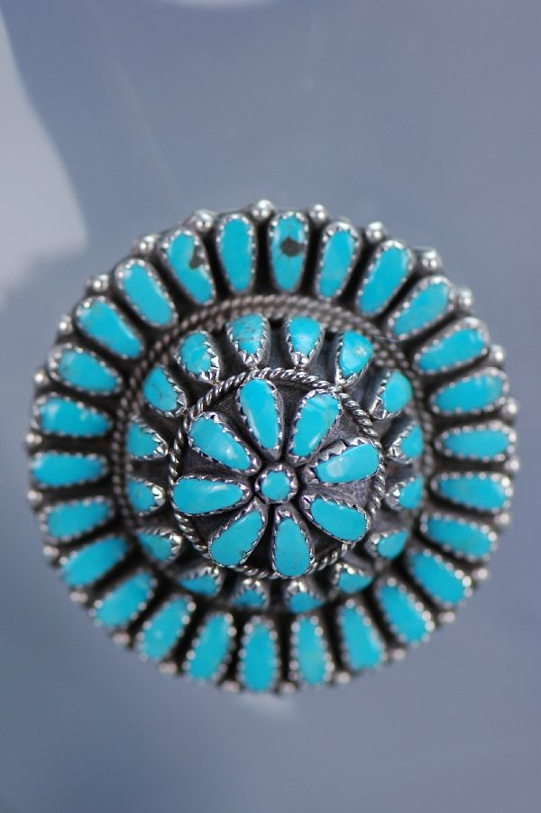 Navajo - Sleeping Beauty Turquoise Cluster Domed Pin/Pendant