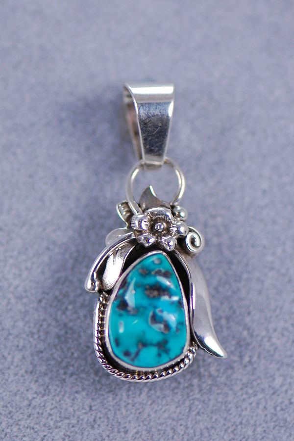 Navajo – Tear Drop Turquoise Mountain Turquoise Sterling Silver Pendant by Harry Sandoval