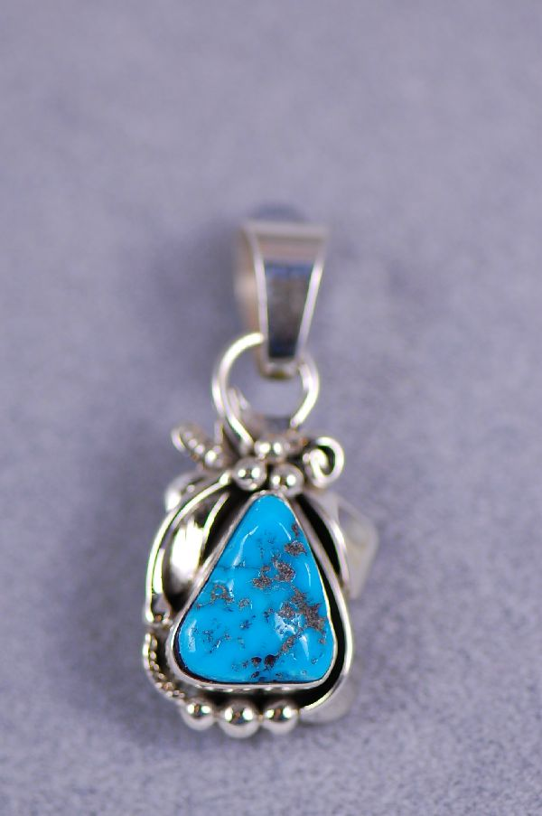 Sleeping Beauty Turquoise Pendant Sterling Silver