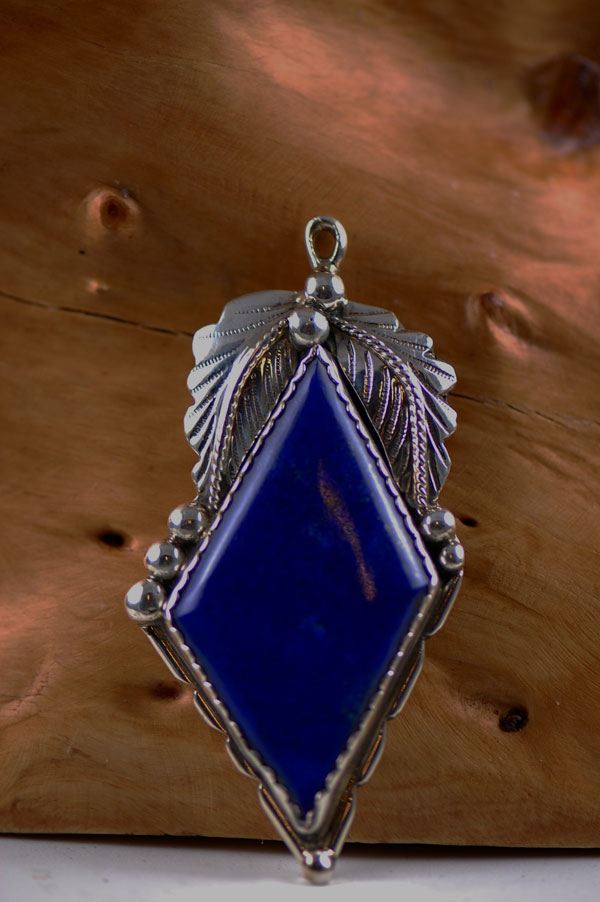 Navajo – Sterling Silver Lapis Pendant by Eric Fierro