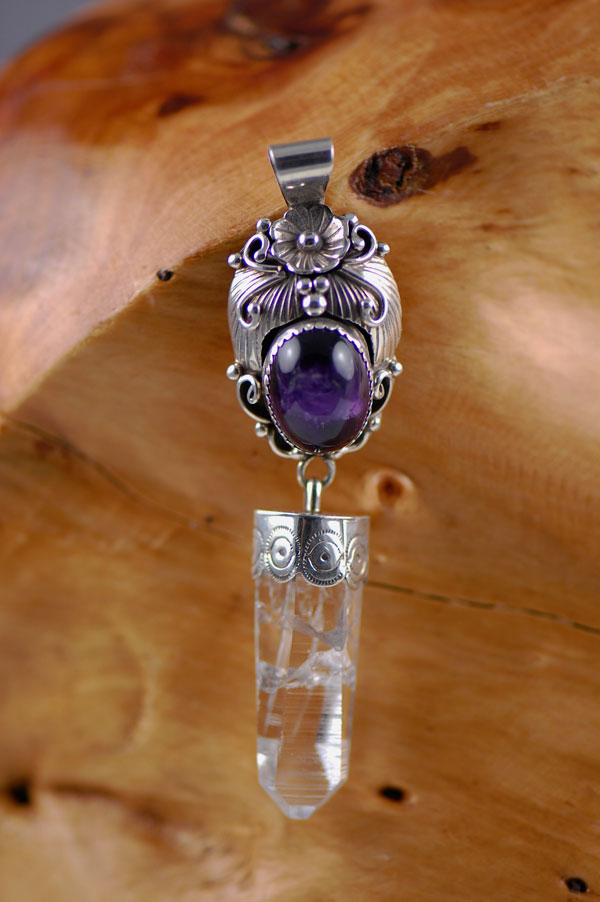 Navajo - Amethyst Sterling Silver Pendant with Crystal by L. Ramone