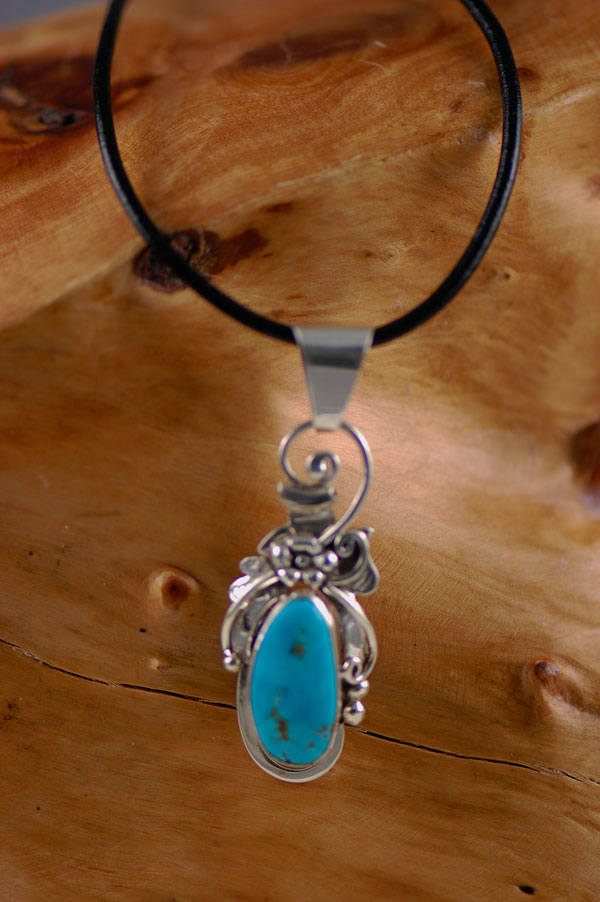Navajo � Tear Drop Turquoise Mountain Turquoise Sterling Silver Pendant by Johnny Watson
