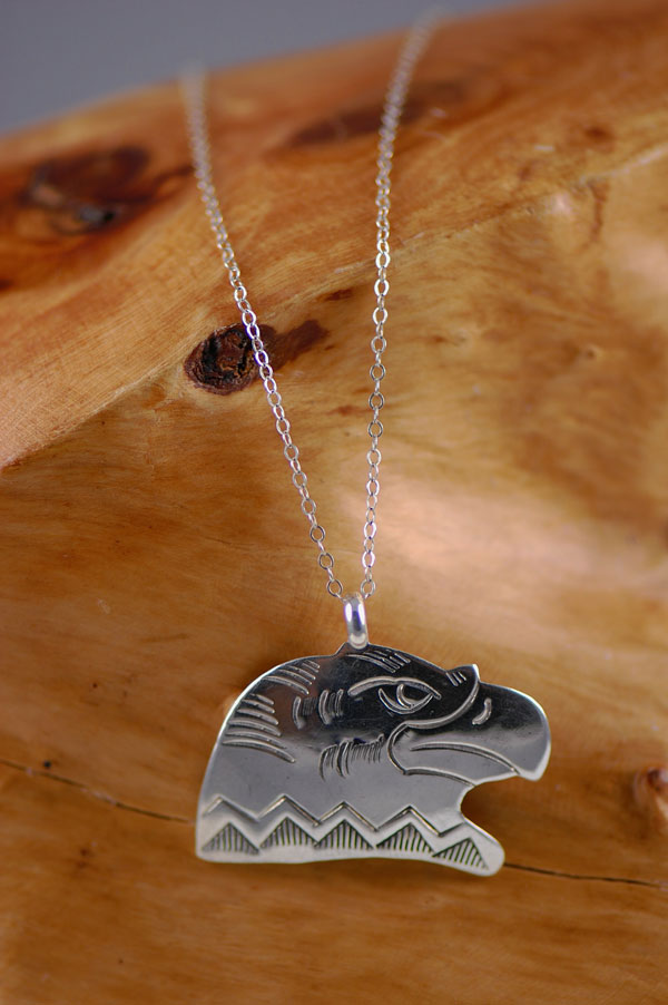 Navajo - Sterling Silver Eagle Head Pendant by Vella Nez