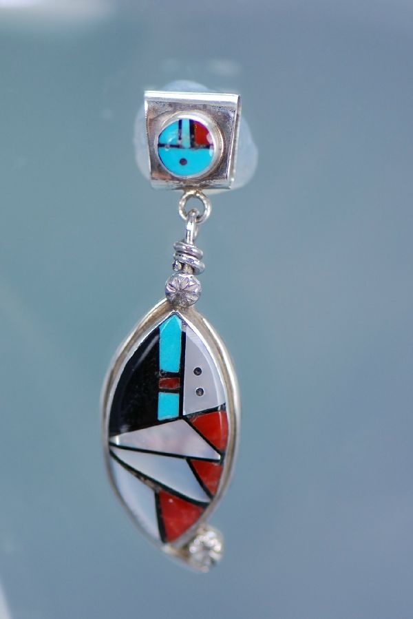 Zuni Sterling Silver Inlaid Sunface Pendant