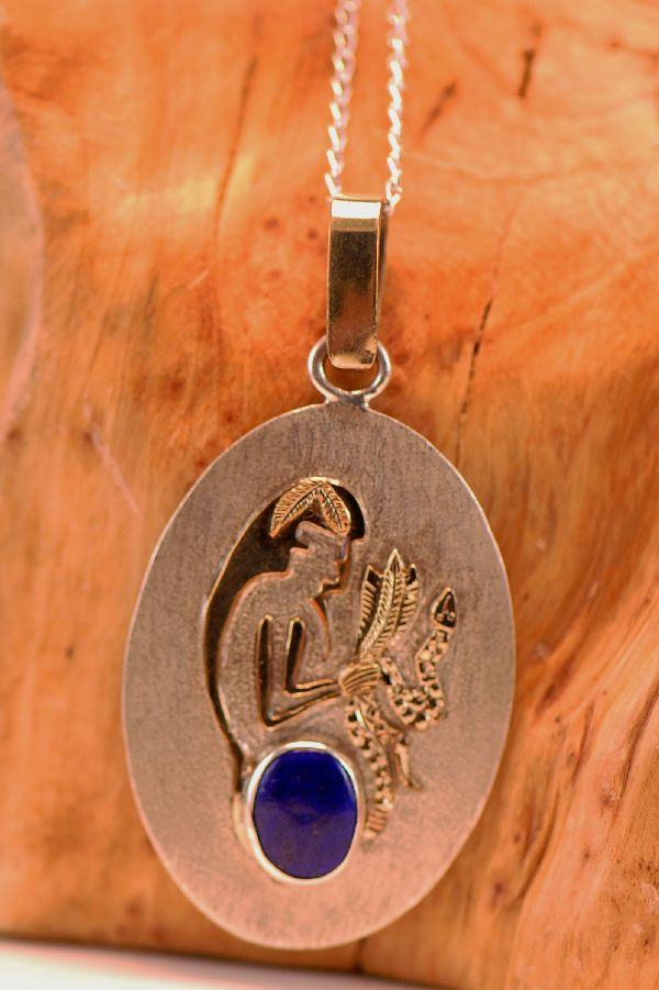 Navajo – 12ktGF and Sterling Silver Long Hair Kachina Pendant with High Grade Lapis by Sampson Gray