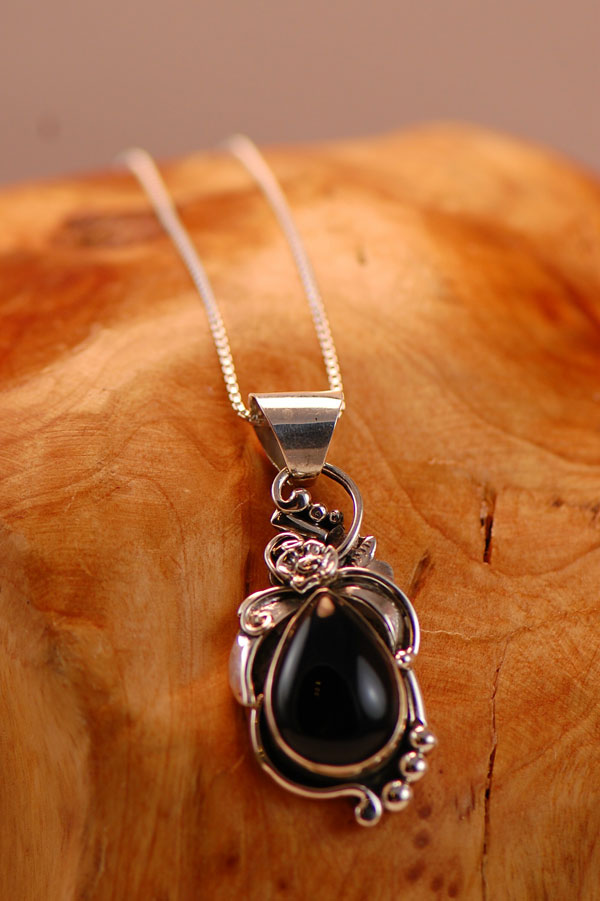 Navajo – Tear Drop Black Onyx Sterling Silver Pendant by Johnny Watson