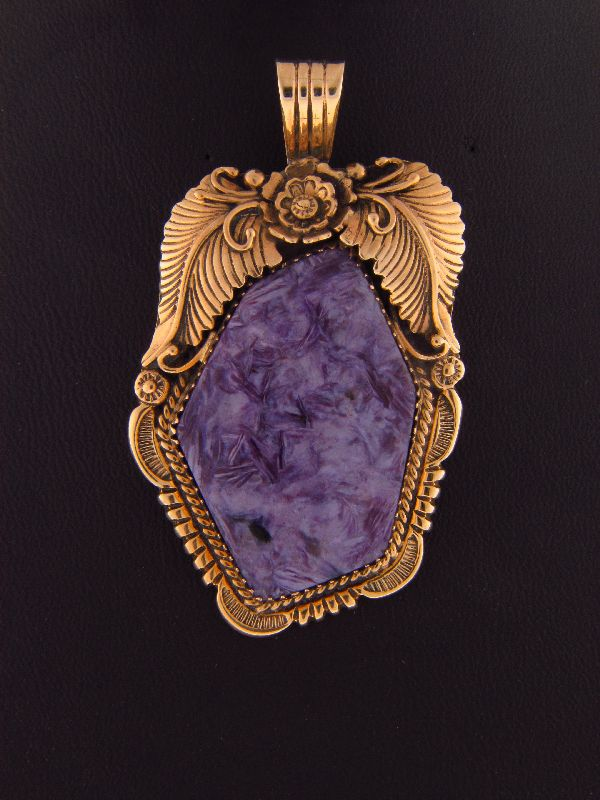 Navajo – 14KT Gold and High Grade Charoite Pendant by Will Denetdale