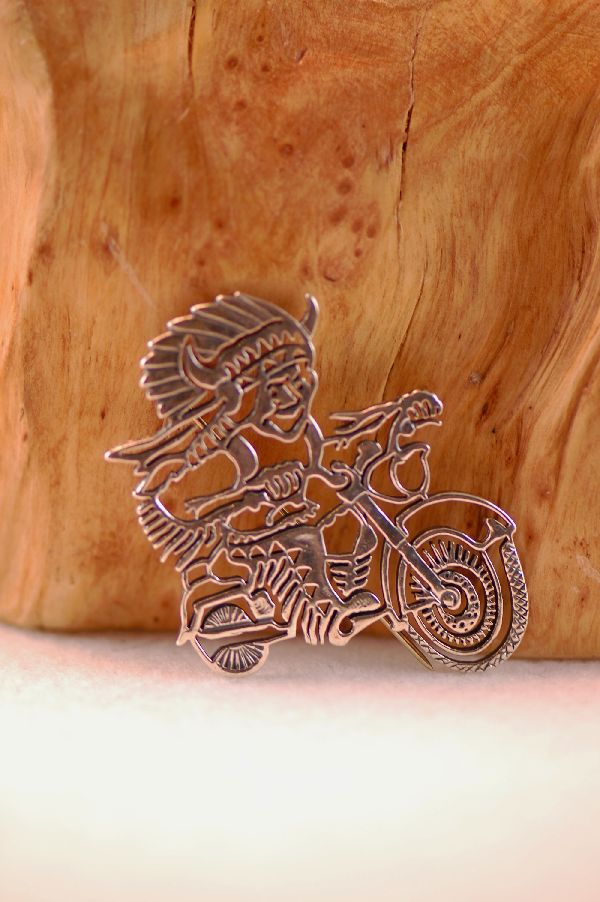 Navajo - Sterling Silver Buffalo Dancer on Motorcycle Pin