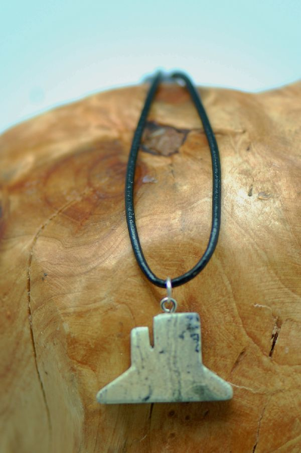 Navajo – Hand Carved Serpentine Monument Valley Pendant by DuWayne Turpen