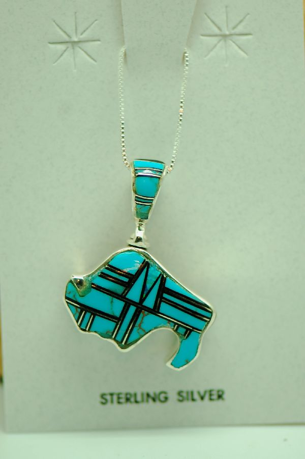 Navajo - Sterling Silver Inlaid Turquoise and Jet Buffalo Spinner Pendant by Lucy Cayatineto