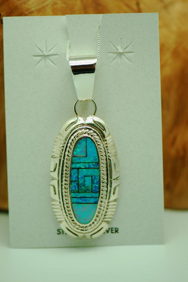 Navajo - Sterling Silver Inlaid Lab Opal Pendant by Lucy Cayatineto