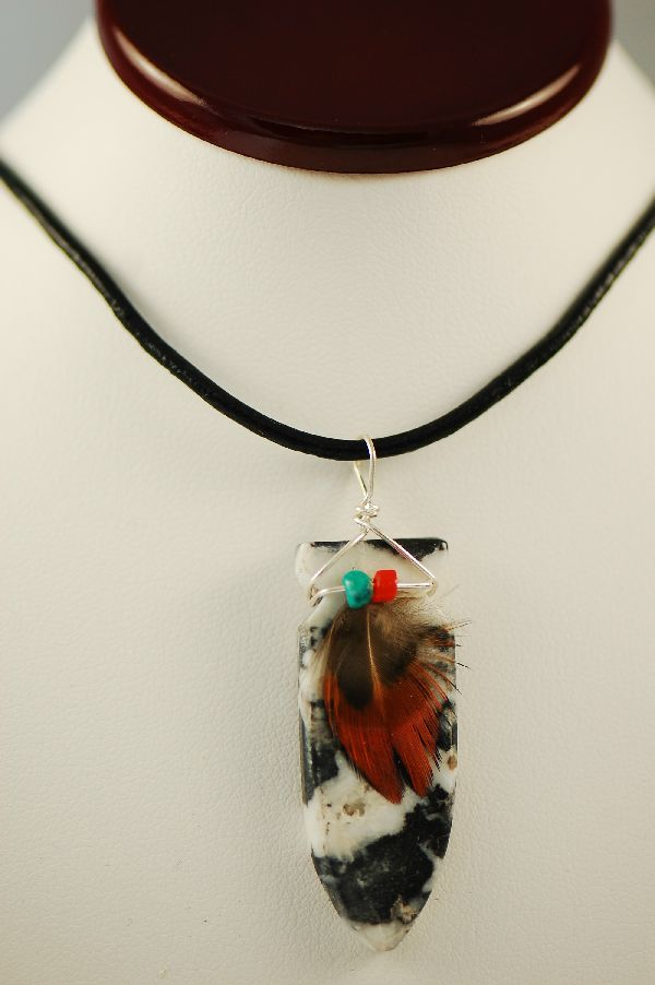 Navajo – Hand Carved Zebra Marble Arrowhead Pendant by DuWayne Turpen
