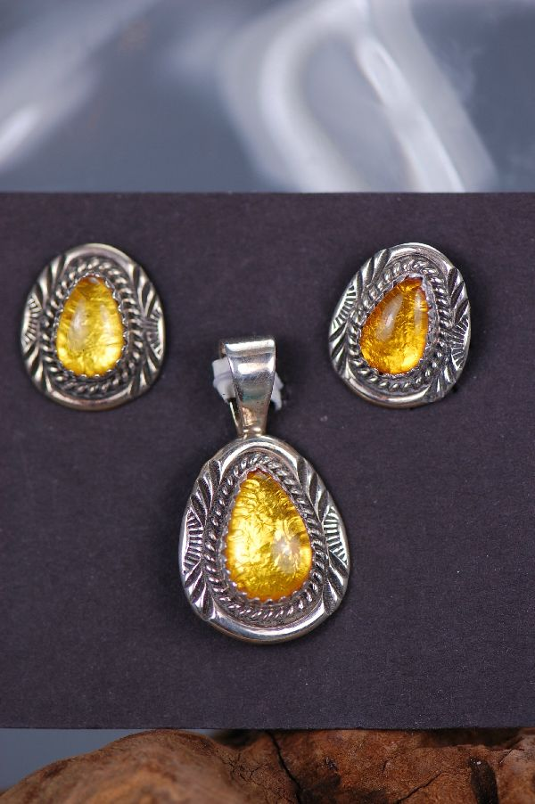 Navajo – Sterling Silver Amber Pendant and Earring Set by Garrison Boyd