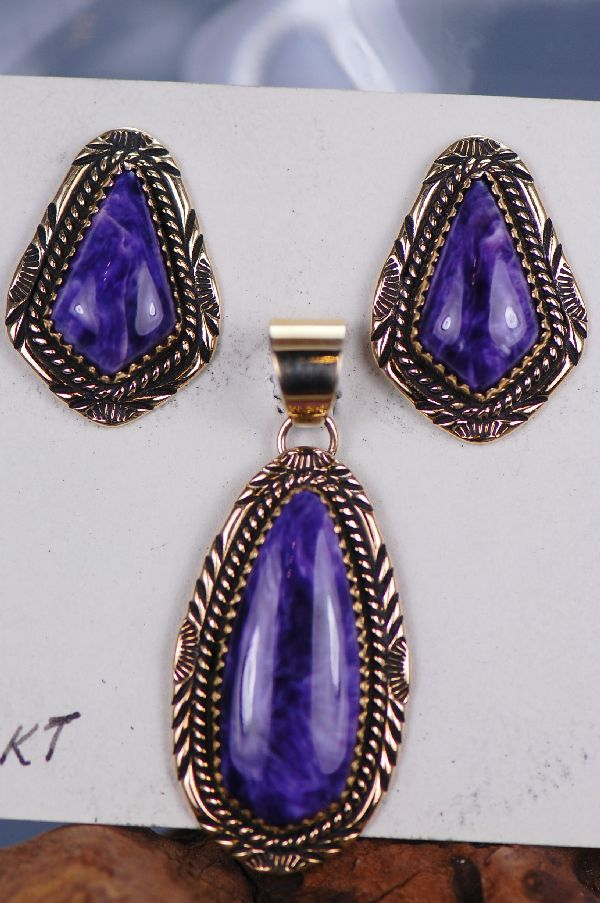 Navajo – 14KT Gold High Grade Charoite Pendant and Earring Set by Will Denetdale