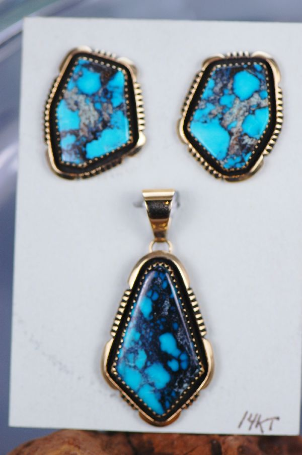 Navajo – 14KT Gold Piaute Turquoise  Pendant and Earring Set by Will Denetdale