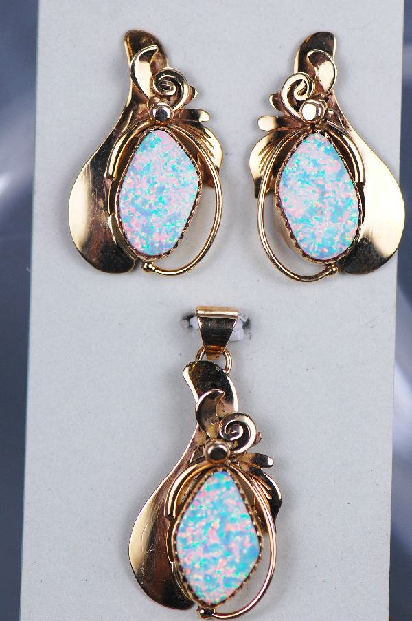 Navajo – 14KT Gold Lab Opal Pendant and Earring Set