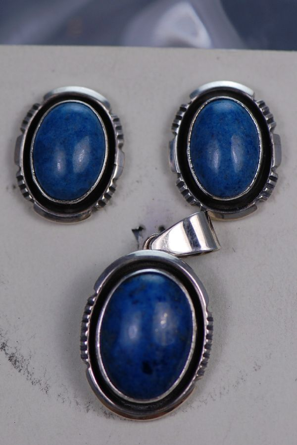 Navajo – Blue Denim Lapis Pendant and Earring Set by Will Denetdale