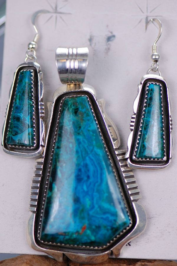 Navajo – Chryscolla Pendant and Earring Set by Will Denetdale