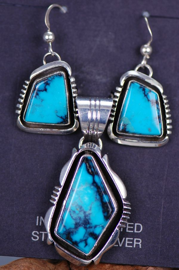 Navajo - Natural Nevada Piaute Turquoise Pendant and Earring Set