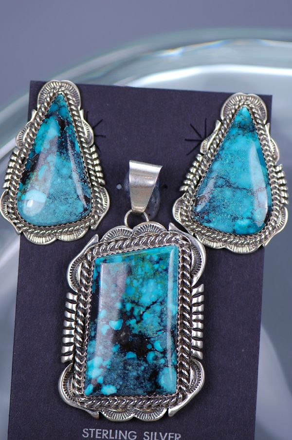 Navajo – Sterling Silver China Mountain Turquoise Pendant and Earring Set by Will Denetdale