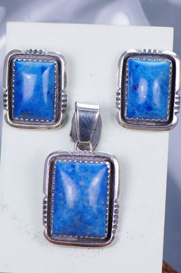Navajo Will Detendale Lapis Pendant and Earrings