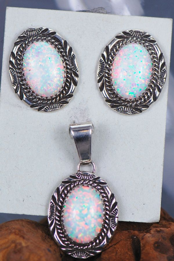 Navajo Lab Opal Pendant and Earring Set