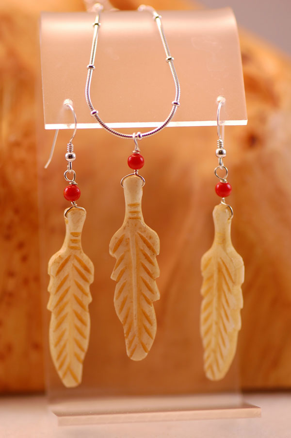 Navajo – Lab Created Ivory Feather Pendant and Earrings Set by Jackie Grey