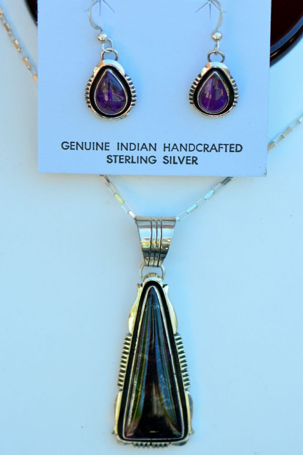 Navajo � High Grade Sterling Silver Sugilite Pendant and Earring Set