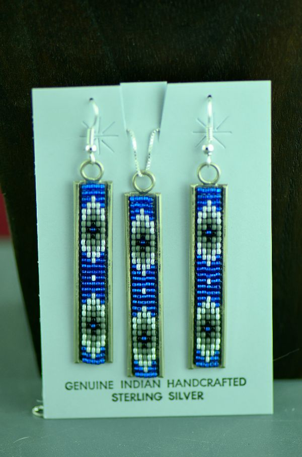 Navajo Sterling Silver Multi-Colored Beaded Pendant and Earrings Set by Leon Jay and Wanda Johnson