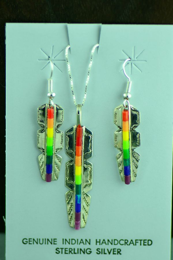 Navajo Sterling Silver Feather Enhanced Lapis, Coral, Charoite, Malachite, Melon and Yellow Heishi Pendant and Earrings by Linda and Alvin James