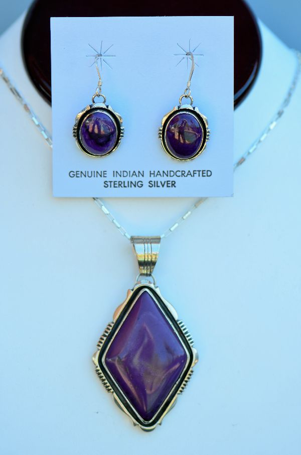 Navajo High Grade Sugilite Pendant and Earrings