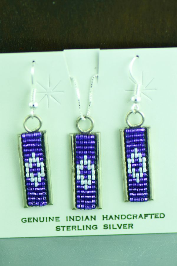 Navajo Sterling Silver Beaded Pendant and Earrings Set by Leon Jay and Wanda Johnson