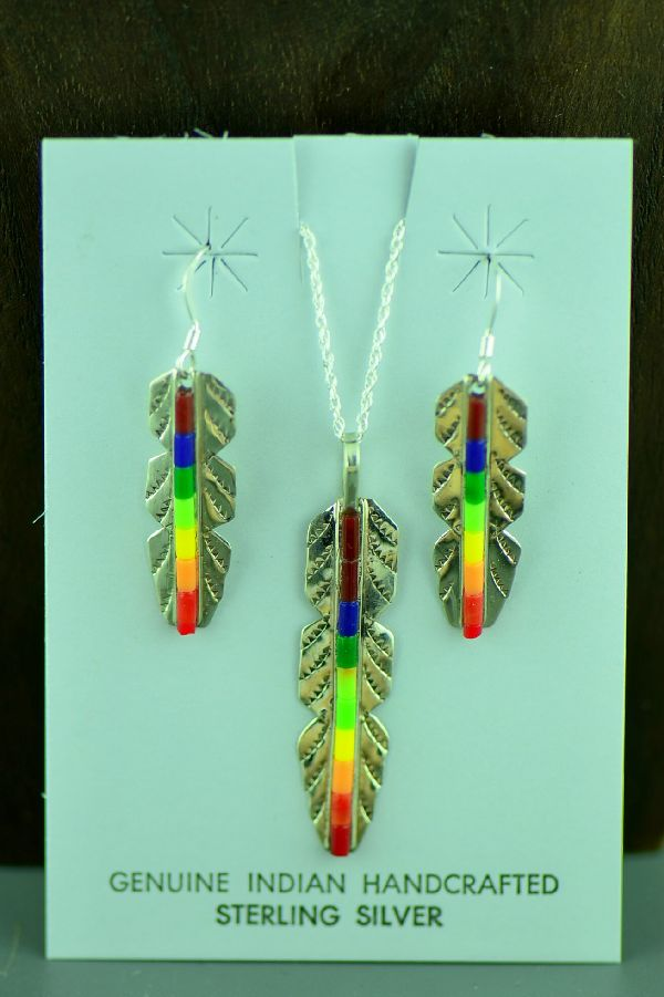 Linda and Alvin James Sterling Silver Feather Enhanced Lapis, Malachite, Coral, Melon, Green and Yellow Heishi Pendant and Earrings