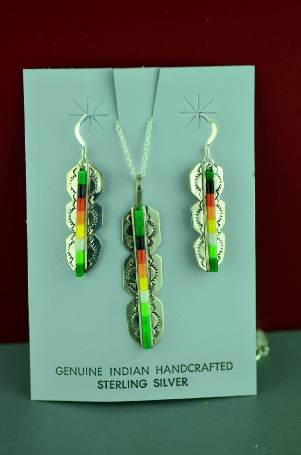Navajo Sterling Silver Feather Enhanced Heishi Pendant and Earrings by Linda and Alvin James