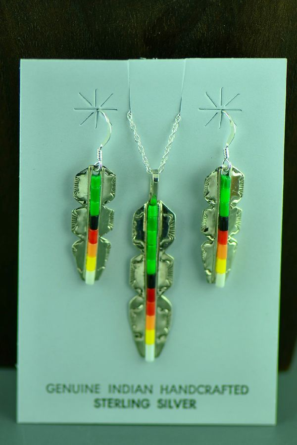 Alvin and Linda James Feather Pendant and Earrings