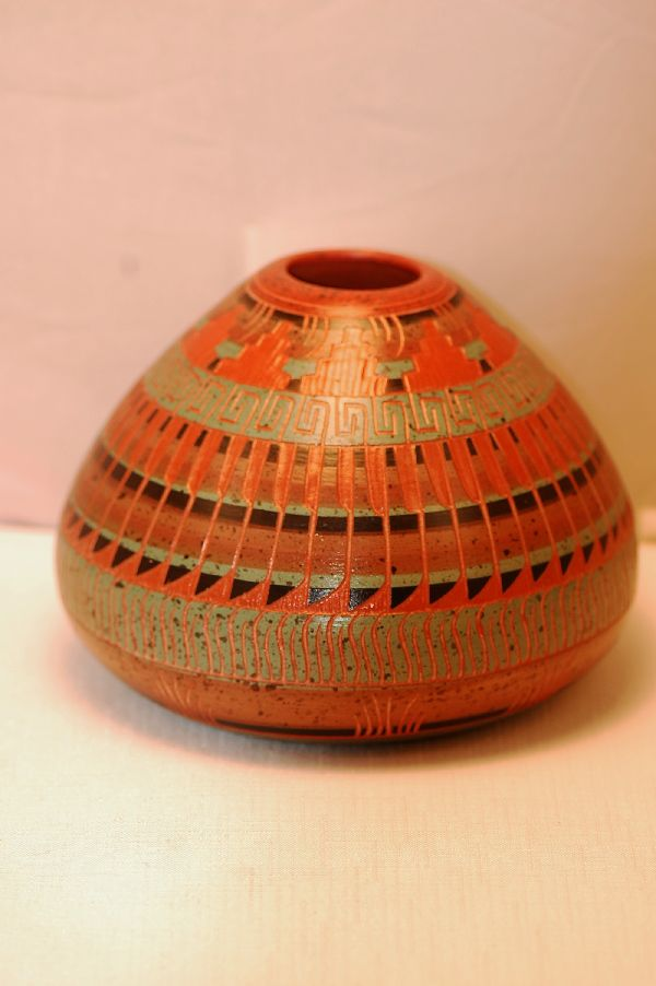 Navajo – Etched/Carved Pottery Vase by Elaine Begay